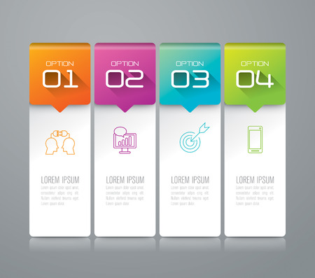 Infographic design template and marketing icons. 矢量图像