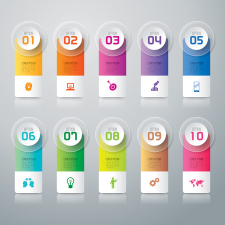 digital number: Infographic design template and marketing icons. Illustration