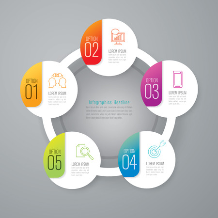 business technology: Infographic design template and marketing icons. Illustration