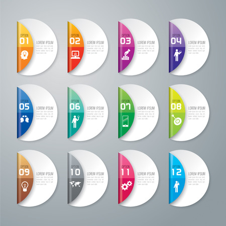 web marketing: Infographic design template and marketing icons. Illustration