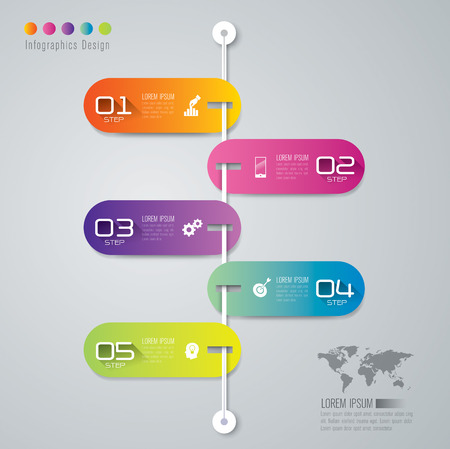 design process: Infographic design template and marketing icons. Illustration