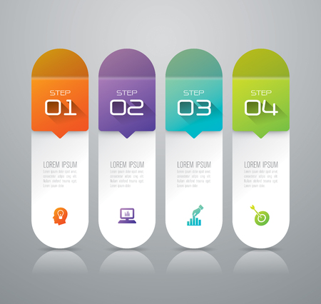 steps: Infographic design template and marketing icons. Illustration