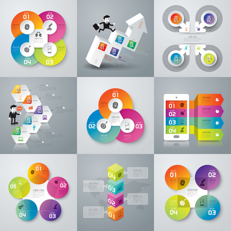 graph: Infographic design template and marketing icons. Illustration