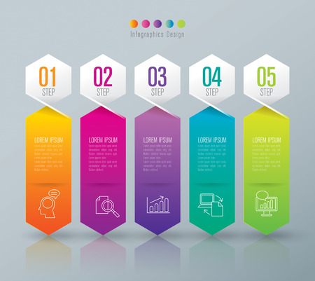 Infographic design template and marketing icons. 向量圖像