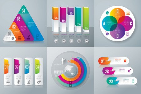 circle objects: Infographic design template and marketing icons. Illustration