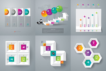 business process diagrams: Infographic design template and marketing icons. Illustration