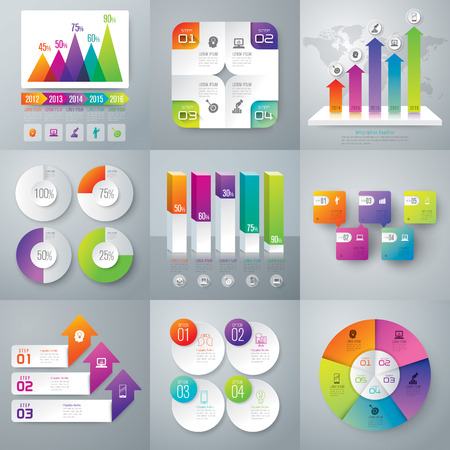 graphs and charts: Infographic design template and marketing icons. Illustration