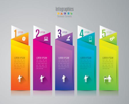 bar charts: Infografía plantilla de diseño y comercialización de iconos.