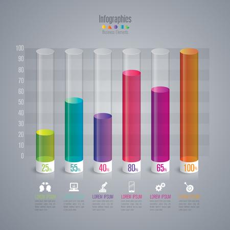 digital illustration: Infographic design template and marketing icons. Illustration