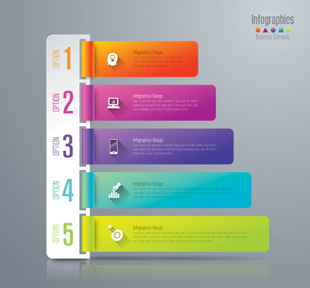 five: Infographic design template and marketing icons. Illustration