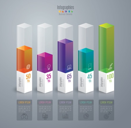 bar chart: Infographic design template and marketing icons. Illustration