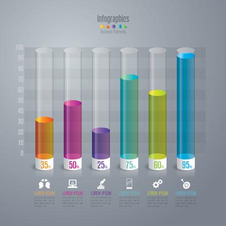 grafica de barras: Infografía plantilla de diseño y comercialización de iconos.