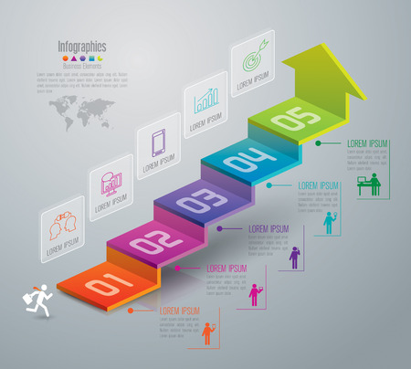 process: Infographic design template and marketing icons. Illustration