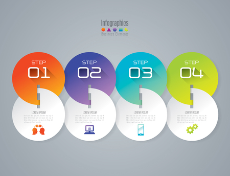number 4: Infographic design template and marketing icons. Illustration