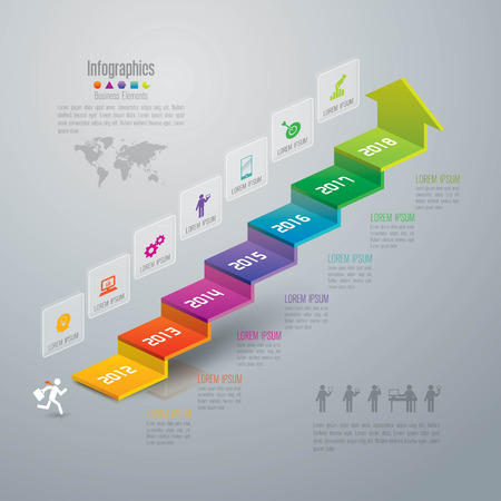 success strategy: Infographic design template and marketing icons. Illustration