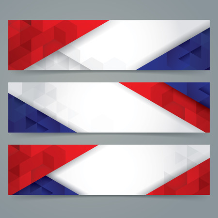 4th of july: Collection banner design, France flag colors background.