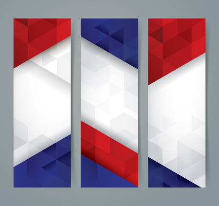 fourth of july: Collection banner design, France flag colors background.