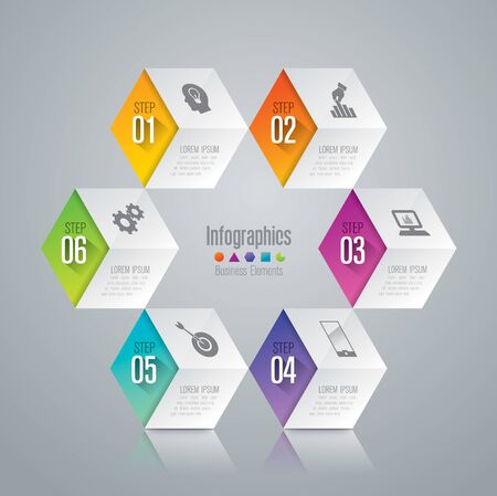 six: Infographic design template and marketing icons. Illustration