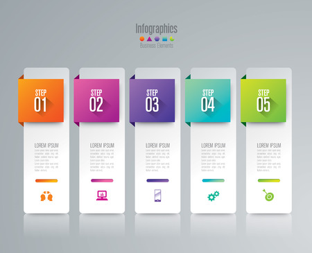 tabs: Infographic design template and marketing icons. Illustration