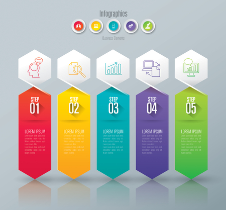 concepts and ideas: Infographic design template and marketing icons. Illustration