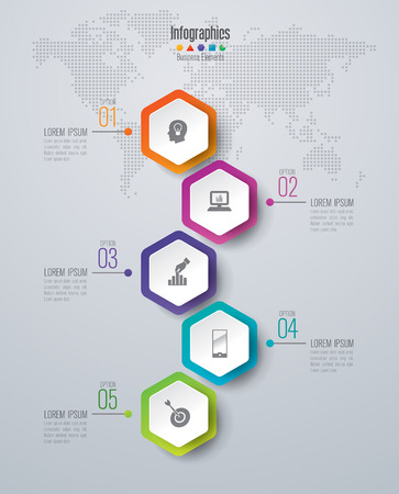 hexagon: Infographic design template set and business icons.