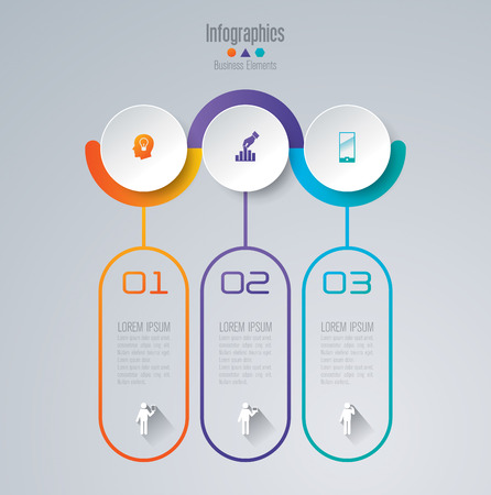 circles: Infographic design template set and business icons.