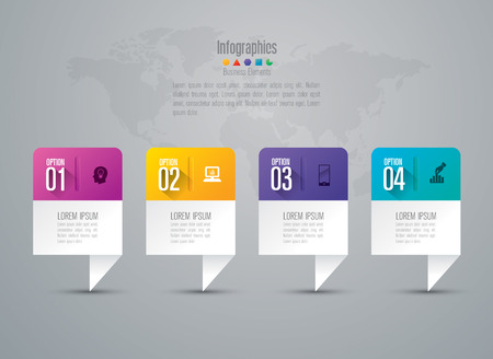Infographic design template set and business icons.