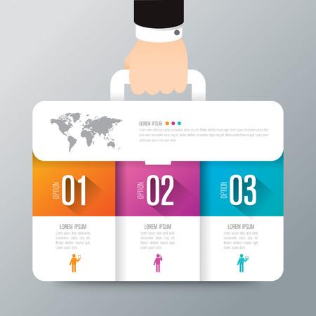 Vecteur de conception infographique affaires valise et icônes marketing.