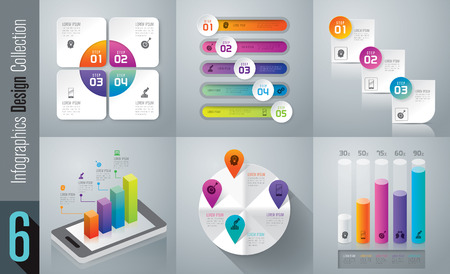 Set of infographic design and business icons with 3, 4 and 5 options.
