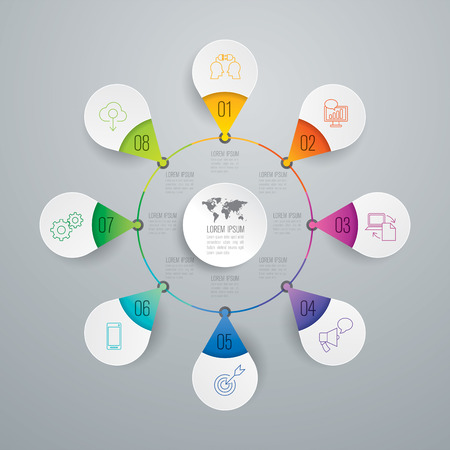 Infographic design vector and business icons with 8 options.