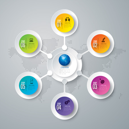 Infographic design vector and business icons with 6 options.