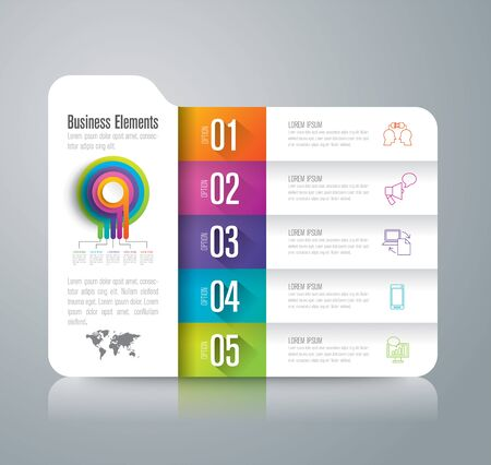 folder icons: Folder infographic design vector and business icons with 5 options.
