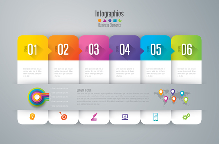 Infographic design vector and marketing icons with 6 options.