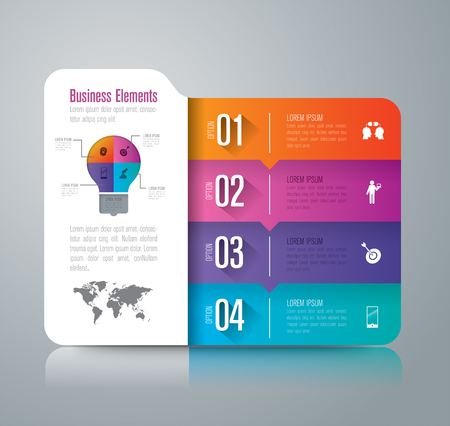 folder icons: Folder infographic design vector and marketing icons with 4 options.