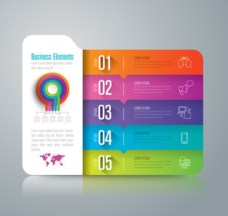 folder icons: Folder infographic design vector and marketing icons with 5 options.