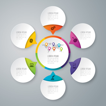 digital world: Infographic design vector and marketing icons with 6 options.