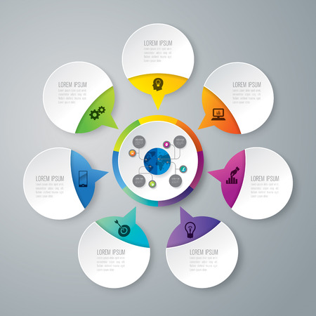 Infographic design vector and business icons with 7 options.