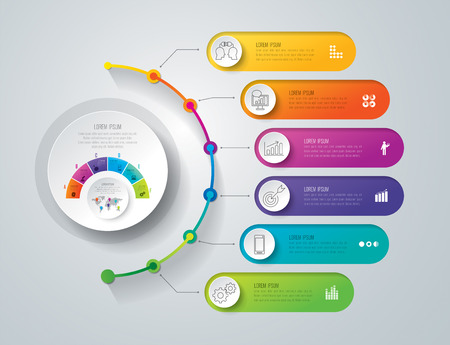 Timeline infographic design vector and business icons with 6 options.
