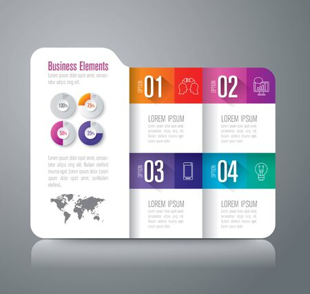 folder icons: Folder infographic design vector and business icons with 4 options.