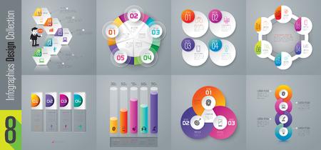Infografische ontwerp vector- en bedrijfspictogrammen met 3, 4, 5 en 6 opties. Vector Illustratie