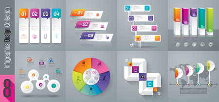 Infographic design vector and business icons with 3, 4, 5 and 6 options. Иллюстрация