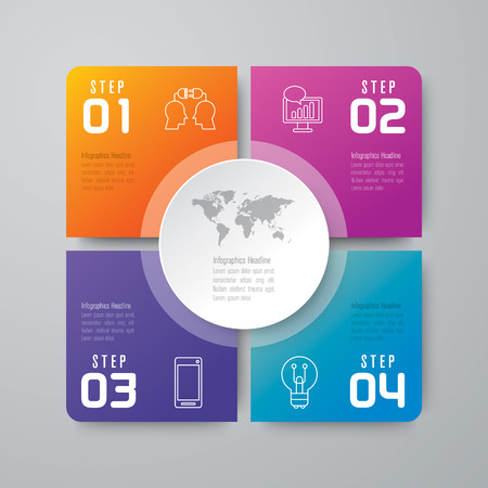 Infographic design vector and business icons with 4 options.