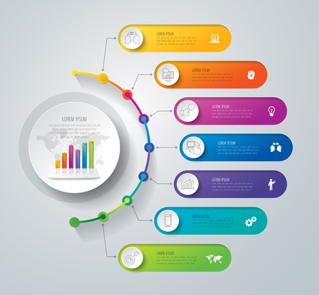 Timeline infographic design vector and business icons with 7 step.