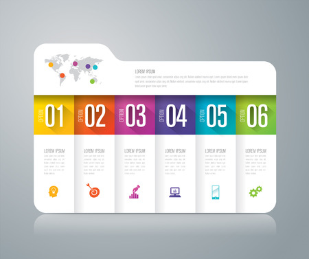 folder icons: Folder infographic design and business icons with 6 options.