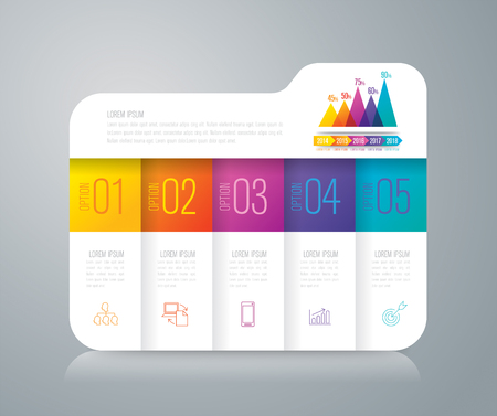 Folder infographics design vector and business icons with 5 options. 向量圖像