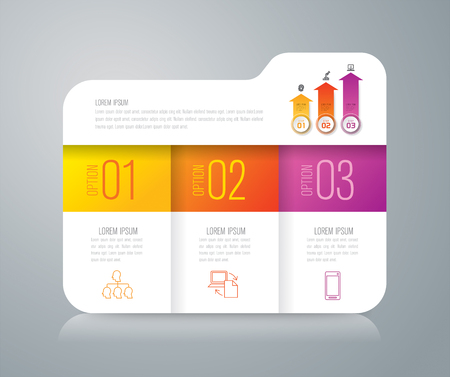 folder icons: Folder infographics design vector and business icons with 3 options. Illustration