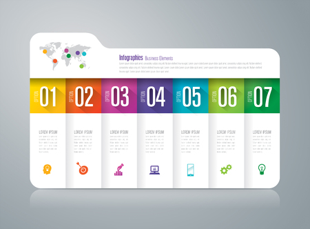 folder icons: Folder infographics design vector and business icons with 7 options.