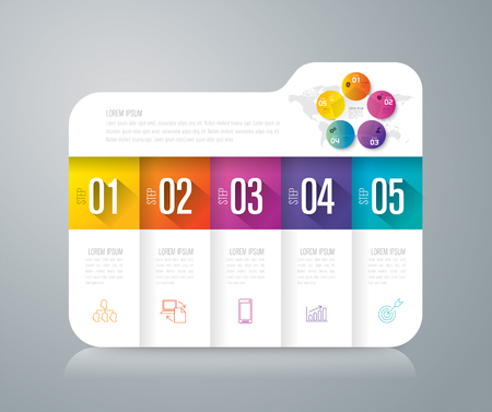 folder icons: Folder infographics design vector and business icons with 5 options. Illustration