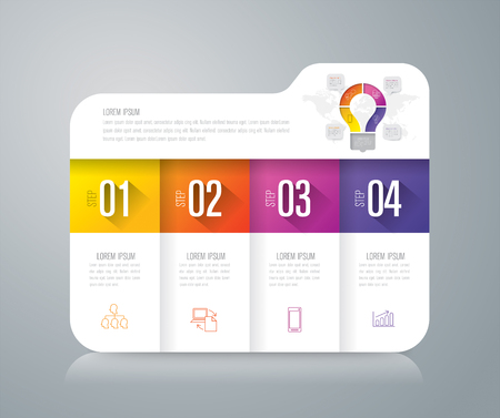 folder icons: Folder infographics design vector and business icons with 4 options.