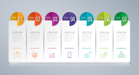 Infographics design vector and business icons with 7 options.